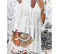 economico -Per donna Vestito a trapezio Mini abito corto Bianco Blu Giallo Rosa Beige Manica a 3/4 Nappa Pizzo Freddezza Estate A V scollato caldo Casuale Boho abiti da vacanza 2021 S M L XL XXL 3XL
