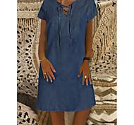 abordables -Femme Robe en jean Robe Longueur Genou Bleu Manches Courtes Couleur unie Lien avant Denim Printemps Eté Col Rond Denim Confortable 2021 M L XL XXL XXXL