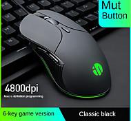 abordables -souris lumineuse 6 boutons réglage 4800dpi souris d'ordinateur optique filaire câble usb souris de jeu d'ordinateur silencieux pour ordinateur portable pc