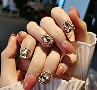 economico -24 punte per unghie color nude da donna stampa finta indossabile sulle unghie con unghie artificiali a copertura completa di strass corte rotonde