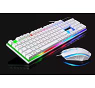 economico -g21 led arcobaleno retroilluminazione a colori gioco di gioco tastiera cablata usb mouse set colore arcobaleno impermeabile antiscivolo per windows