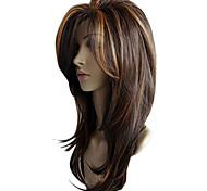 abordables -65 cm perruque droite femme perruques synthétiques ondulées sexy dégradé marron perruques de soirée cheveux longs bouclés perruque de couleurs mélangées