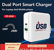 economico -65 W Potenza di uscita USB Caricatore veloce Caricatore USB QC 3.0 Ricarica veloce Per Universale