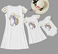 abordables -Maman et moi Enfant Adulte Lots de Vêtements pour Famille Robe Licorne Couleur Pleine Animal Manches Courtes Imprimé Blanche Maxi Eté basique