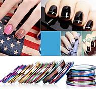 economico -5 pezzi / set accessori per nail art linea dipinta adesivo per unghie laser adesivo 1mm 30 colori accessori per nail art linea oro e argento