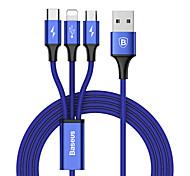 economico -BASEUS Micro USB Lightning USB C Cavi 1 a 3 3 A 1,2 m (4 piedi) TPE Per Macbook iPad Samsung Appendini per cellulare