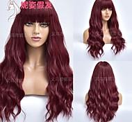 abordables -amazon nouveau produit perruque européenne et américaine dames noir et rouge double couleur correspondant aux longs cheveux bouclés perruque en fibre chimique usine de coiffures Vente en gros