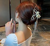 abordables -métal fleur gland perle épingle à cheveux tête arrière grande attrape clip corée élégant tempérament requin clip net rouge all-match