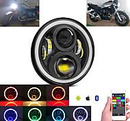 economico -otolampara 100w moto rgb led faro h4 per yamaha road star 1600/1700/argentado multifunzionale anabbagliante faro con angel eye drl 1 pz