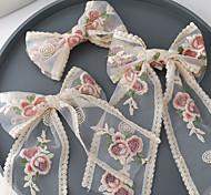 economico -corea del sud ins nuovo ricamo rosa fiore streamer primavera clip tornante giapponese ragazza carina top clip accessorio per capelli