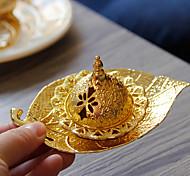 economico -bruciatore di incenso arabo mediorientale portatile ramadan metallo dorato bruciatore di aromi vassoio foglia europea piccolo una consegna