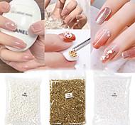 economico -4 confezioni / set nail art gioielli di perle semicerchio bianco perla ab 3d colore fantasma decorazione unghie diamante a fondo piatto 1.5-4mm non sbiadisce