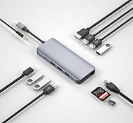 economico -WiWU Alta velocità Con lettore di schede (s) OTG Alpha 12 USB 3.0 USB C a USB 3.0 USB 3.1 USB C RJ45 Audio da 3,5 mm scheda SD Scheda TF HDMI Hub USB 12 Porti Per Windows, PC, laptop