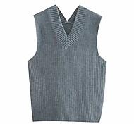 economico -fashion trend abbigliamento donna blogger gilet in maglia a quattro colori stile europeo e americano tinta unita gilet lavorato a maglia con ago spesso sciolto