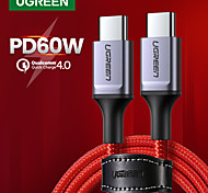 abordables -UGREEN USB C Câble Haut débit Charge Rapide 3 A 1.2m (4ft) Aluminium Nylon Pour Samsung Xiaomi Huawei Accessoire de Téléphone