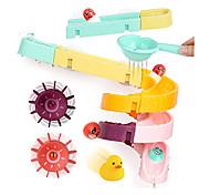 economico -set di giocattoli da bagno per bambini, 24 pezzi fai da te scivolo cascata pista bastone con ventosa e ruote palla d'acqua doccia vasca da bagno galleggiante giocattolo estate vasca da bagno per