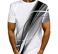 abordables -Homme T-shirt Chemise 3D effet Graphique Imprimé Manches Courtes Quotidien Hauts Chic de Rue Col Rond Bleu Rouge Gris