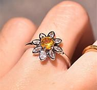 economico -anello donna fiore 3d argento zircone rame placcato oro fiore moda preziosa 1pz 9