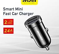 economico -AWEI 12 W Potenza di uscita USB Presa per caricabatteria USB per auto Caricatore veloce Caricabatterie portatile Per iPad Cellulari
