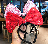 abordables -célébrité en ligne simple et douce paillettes mignonnes arc en trois dimensions bandeau en épingle à cheveux femmes