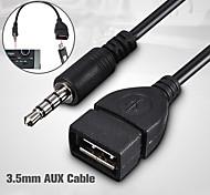 abordables -Fiche mâle voiture aux audio jack 0,2 m synchro de 3,5 mm à câble convertisseur femelle du cordon usb