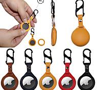abordables -Etui en cuir pu pour apple airtag tracker emplacement anti-perte dispositif avec porte-clés protection anti-rayures couverture pour airtags