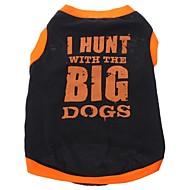 ieftine -Câine Tricou Literă & Număr Îmbrăcăminte Câini Respirabil Negru Costume Bumbac XS S M L