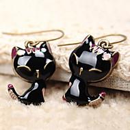 ieftine -Pentru femei Cercei Picătură Clasic Pisici Animal Ieftin Șic & Modern Cute Stil Reșină cercei Bijuterii Negru Pentru Zilnic Interior 1 Pair