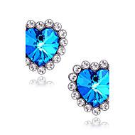 ieftine -Pentru femei Sapphire sintetic Cercei Stud Solitaire Inimă Αστέρι Iubire femei Lux Diamante Artificiale cercei Bijuterii Albastru Pentru Nuntă Zilnic Mascaradă Petrecere Logodnă Bal Promisiune