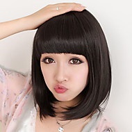 Synthetic Wig Straight Straight Bob With Bangs Wig Medium Length Black Synthetic Hair 8 inch Women's Natural Black