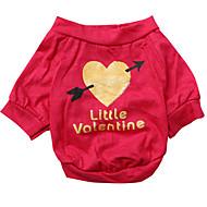 ieftine -Câine Tricou Inimă Îmbrăcăminte Câini Respirabil Trandafiriu Costume Bumbac XS S M L