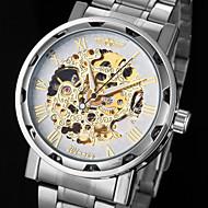 ieftine -WINNER Bărbați Ceas Schelet Ceas de Mână Mecanism automat Oțel inoxidabil Argint Gravură scobită Analog Charm - Roz auriu Auriu