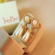 povoljno -Žene Viseće naušnice dva kamena Ispustiti dame Europska Imitacija bisera Umjetno drago kamenje Naušnice Jewelry Zlato / Krema Za Vjenčanje Maškare Zaručnička zabava Prom Obećanje