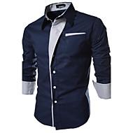 Chemise Grandes Tailles Homme, Couleur Pleine Basique Col Italien Mince Blanche / Manches Longues / Printemps / Automne