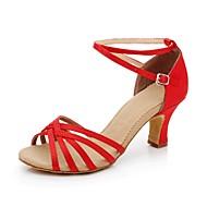 رخيصةأون -نسائي أحذية الرقص ستان أحذية رقص / أحذية سالسا مشبك صندل كعب كوبي غير مخصص أحمر / ذهبي / الأزرق الملكي / فرو / EU41