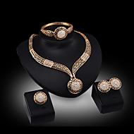 رخيصةأون -للمرأة مكعبات زركونيا مطلية بالذهب سبيكة Circle Shape Geometric Shape جميل حفلة سوار سوار أقراط القلائد خاتم مجوهرات