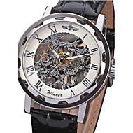 ieftine -WINNER Bărbați Ceas Schelet Ceas de Mână ceas mecanic Mecanism manual Supradimensionat Piele PU Matlasată Negru Gravură scobită Analog Lux - Albastru Alb Negru
