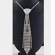 رخيصةأون -نسائي القلائد بيان قلادة طويلة مكشكش طويل سيدات شرابة مطلي بالفضة تقليد الماس أبيض قلادة مجوهرات من أجل