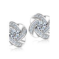 povoljno -Sintetički dijamant Sitne naušnice Lenonice HALO Cvijet dame Simple Style Moda Elegantno Vjenčan Plastika Kristal Umjetno drago kamenje Naušnice Jewelry Srebro Za Vjenčanje Party Dar Dnevno Maškare