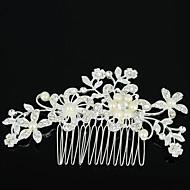 ieftine -Pentru femei Piepteni de Păr Pentru Nuntă Petrecere Zilnic Flori Zirconiu Ștras Aliaj Argintiu