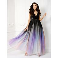 رخيصةأون -A-الخط V رقبة طول الأرض شيفون حفلة رسمية فستان مع شريط و شاح بواسطة TS Couture® / لون متغاير