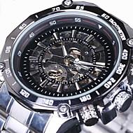 ieftine -WINNER Bărbați Ceas Schelet Ceas de Mână ceas mecanic Mecanism automat Oțel inoxidabil Argint Gravură scobită Analog Lux - Negru Alb