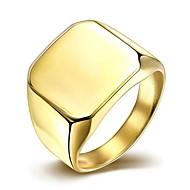 رخيصةأون -رجالي عصابة الفرقة خاتم الخاتم فضي ذهبي الصلب التيتانيوم مطلية بالذهب أسلوب بسيط موضة هدايا عيد الميلاد زفاف مجوهرات