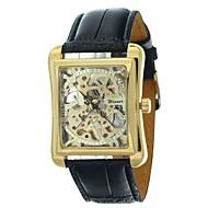 ieftine -WINNER Bărbați Ceas Schelet Ceas de Mână ceas mecanic Mecanism automat Piele PU Matlasată Negru Gravură scobită Analog Lux - Negru