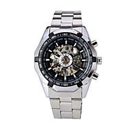 ieftine -WINNER Bărbați Ceas de Mână ceas mecanic Mecanism automat Oțel inoxidabil Argint Gravură scobită Analog Lux Gunmetal Watch - Negru Alb