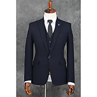 voordelige -Donkerblauw Gestreept Strak Polyester Pak - Inkeping Single Breasted een knoops / Suits