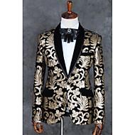 voordelige -Lichtbruin Patroon Strak Polyester Pak - Inkeping Single Breasted een knoops / Suits