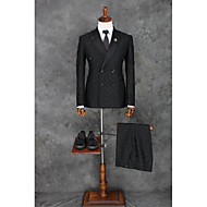 voordelige -Zwart Patroon Strak Polyester Pak - Inkeping Double breasted Twee Knoops / Patroon / Print / Suits