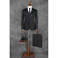 voordelige -Zwart Effen Getailleerd Polyester Pak - Punt Single Breasted een knoops / Suits