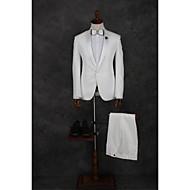 voordelige -Wit Effen Getailleerd Polyester Pak - Inkeping Single Breasted een knoops / Suits